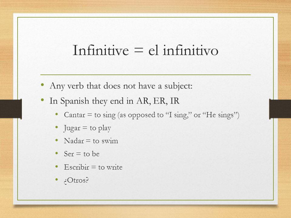Conjugated verb = el verbo conjugado A verb once you give it a subject.