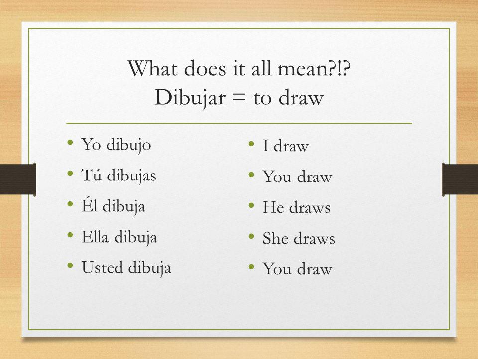 What does it all mean?!? Dibujar = to draw Yo dibujo Tú dibujas Él dibuja Ella dibuja Usted dibuja I draw You draw He draws She draws You draw