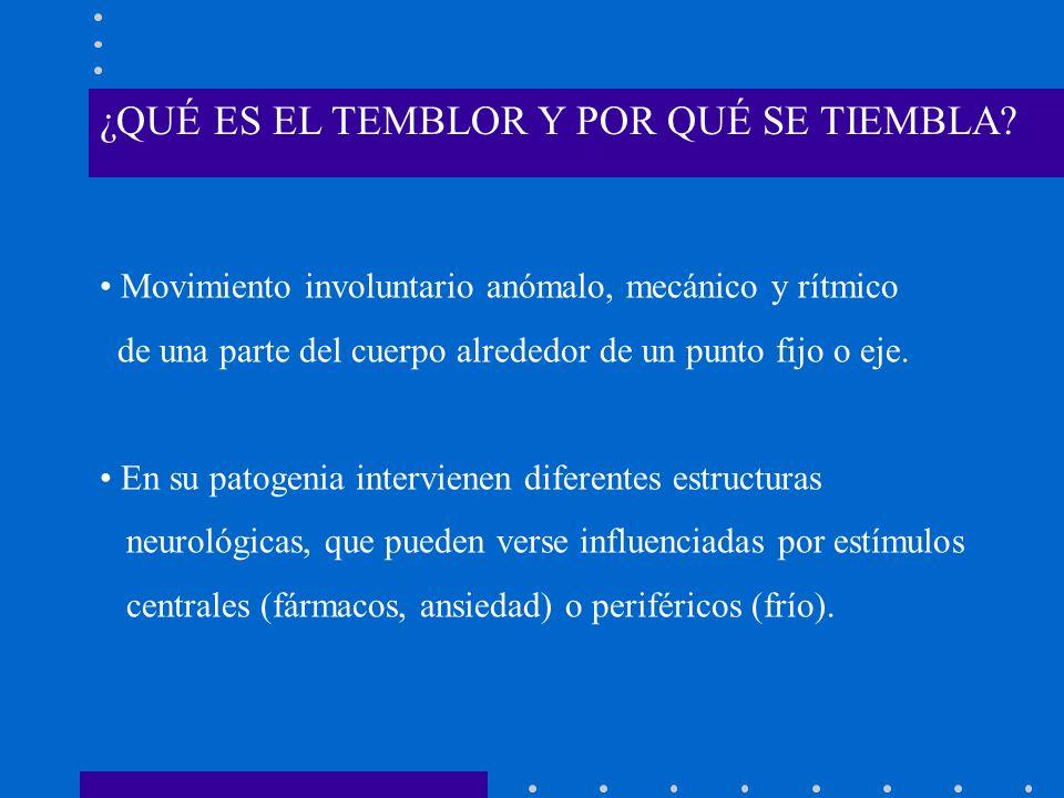 ¿QUÉ ES EL TEMBLOR Y POR QUÉ SE TIEMBLA? Movimiento involuntario anómalo, mecánico y rítmico de una parte del cuerpo alrededor de un punto fijo o eje.