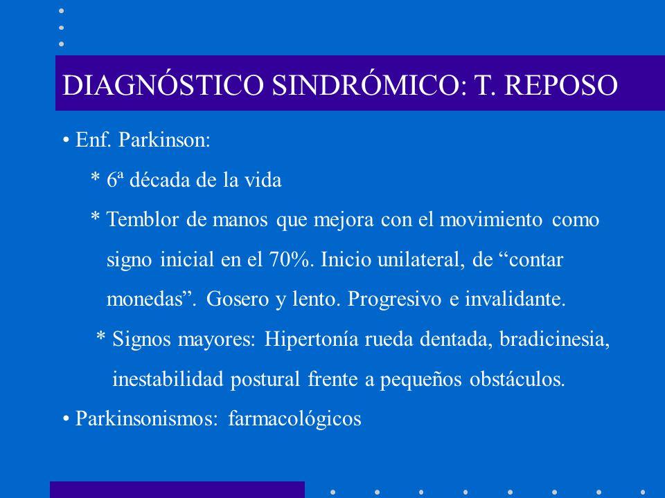 DIAGNÓSTICO SINDRÓMICO: T. REPOSO Enf. Parkinson: * 6ª década de la vida * Temblor de manos que mejora con el movimiento como signo inicial en el 70%.