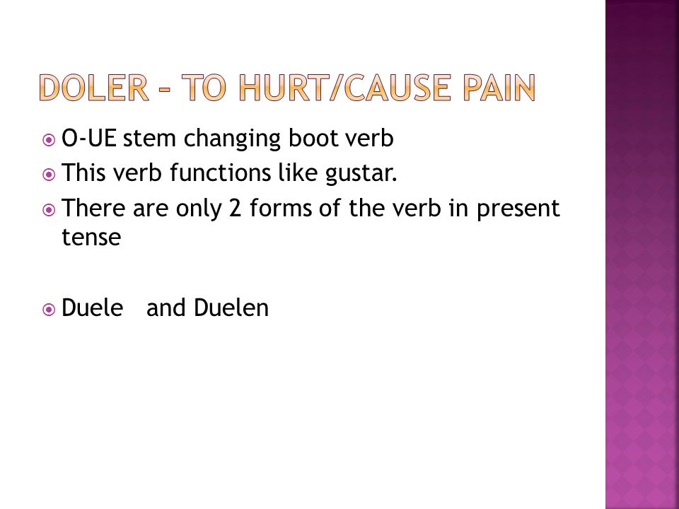 With the two forms (duele and duelen) you MUST use pronouns. MeNos Te LeLes