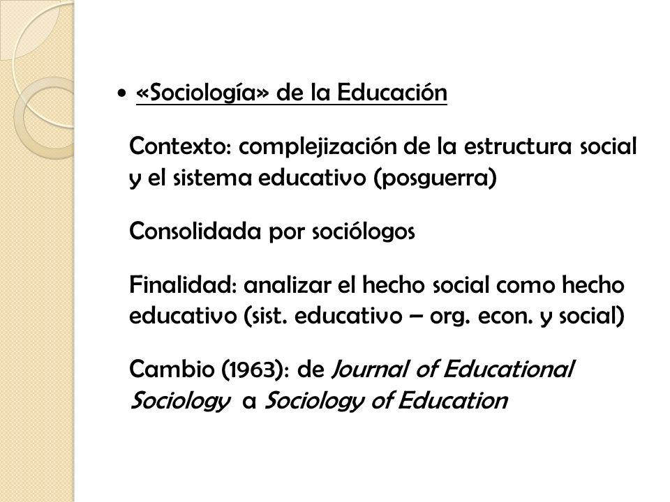 «Sociología» de la Educación Contexto: complejización de la estructura social y el sistema educativo (posguerra) Consolidada por sociólogos Finalidad: