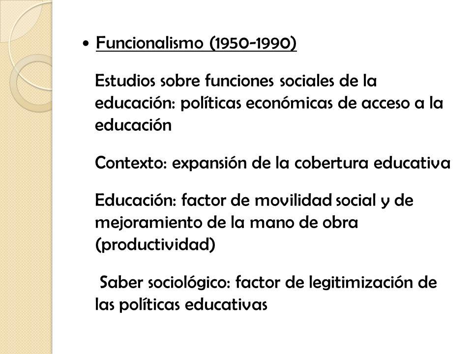 Funcionalismo (1950-1990) Estudios sobre funciones sociales de la educación: políticas económicas de acceso a la educación Contexto: expansión de la c