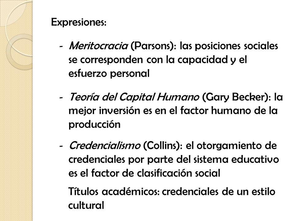 Expresiones: - Meritocracia (Parsons): las posiciones sociales se corresponden con la capacidad y el esfuerzo personal - Teoría del Capital Humano (Ga