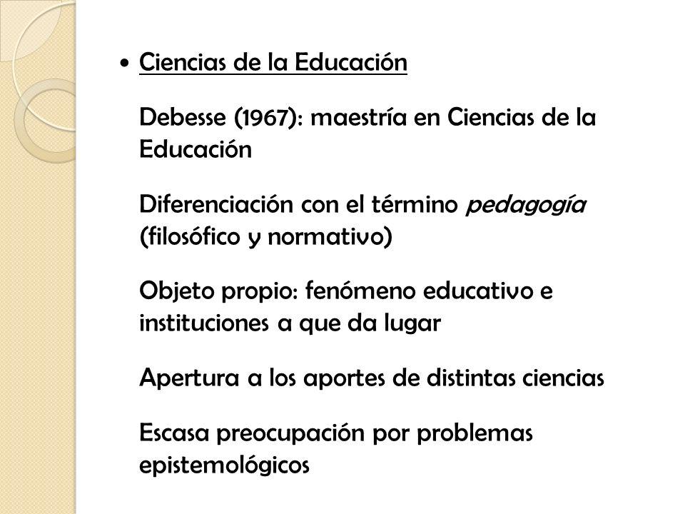 Ciencias de la Educación Debesse (1967): maestría en Ciencias de la Educación Diferenciación con el término pedagogía (filosófico y normativo) Objeto
