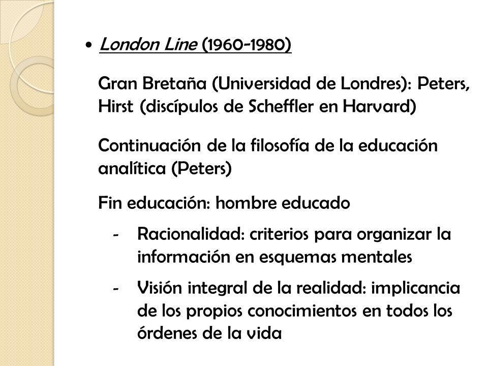 London Line (1960-1980) Gran Bretaña (Universidad de Londres): Peters, Hirst (discípulos de Scheffler en Harvard) Continuación de la filosofía de la e