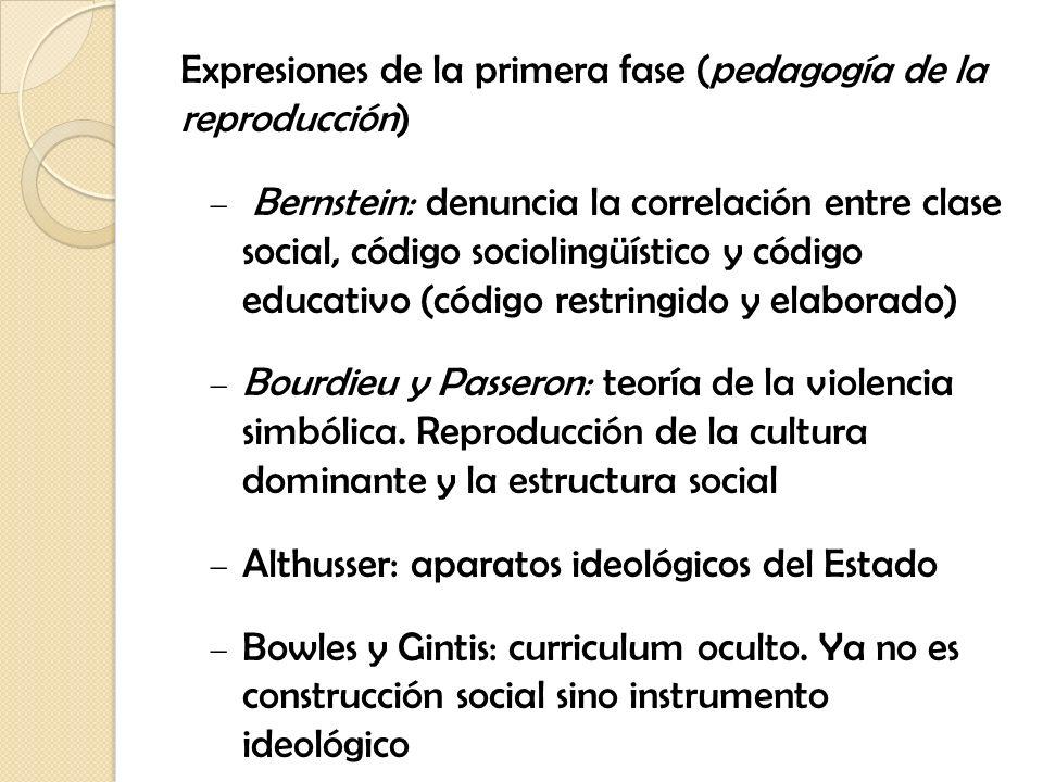 Expresiones de la primera fase (pedagogía de la reproducción) Bernstein: denuncia la correlación entre clase social, código sociolingüístico y código