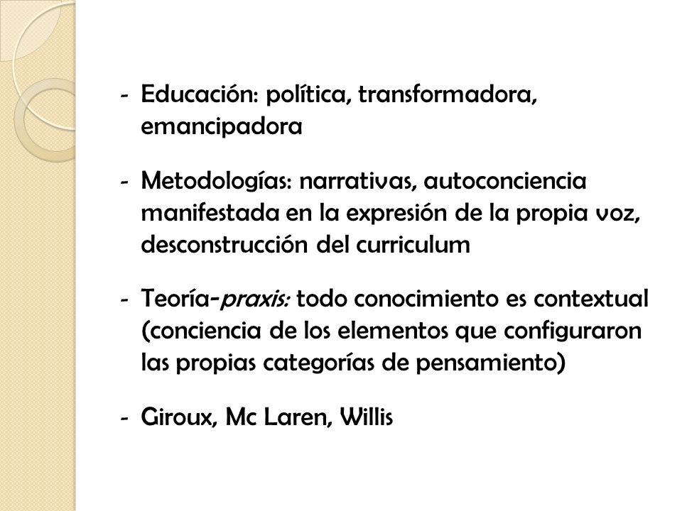 - Educación: política, transformadora, emancipadora - Metodologías: narrativas, autoconciencia manifestada en la expresión de la propia voz, desconstr