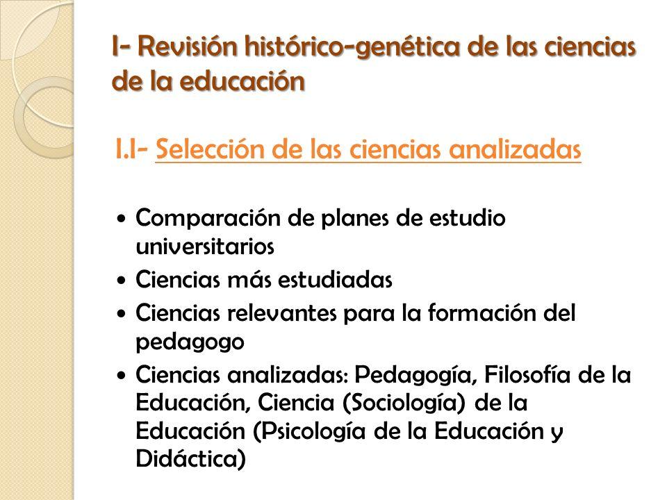 I- Revisión histórico-genética de las ciencias de la educación I.I- Selección de las ciencias analizadas Comparación de planes de estudio universitari