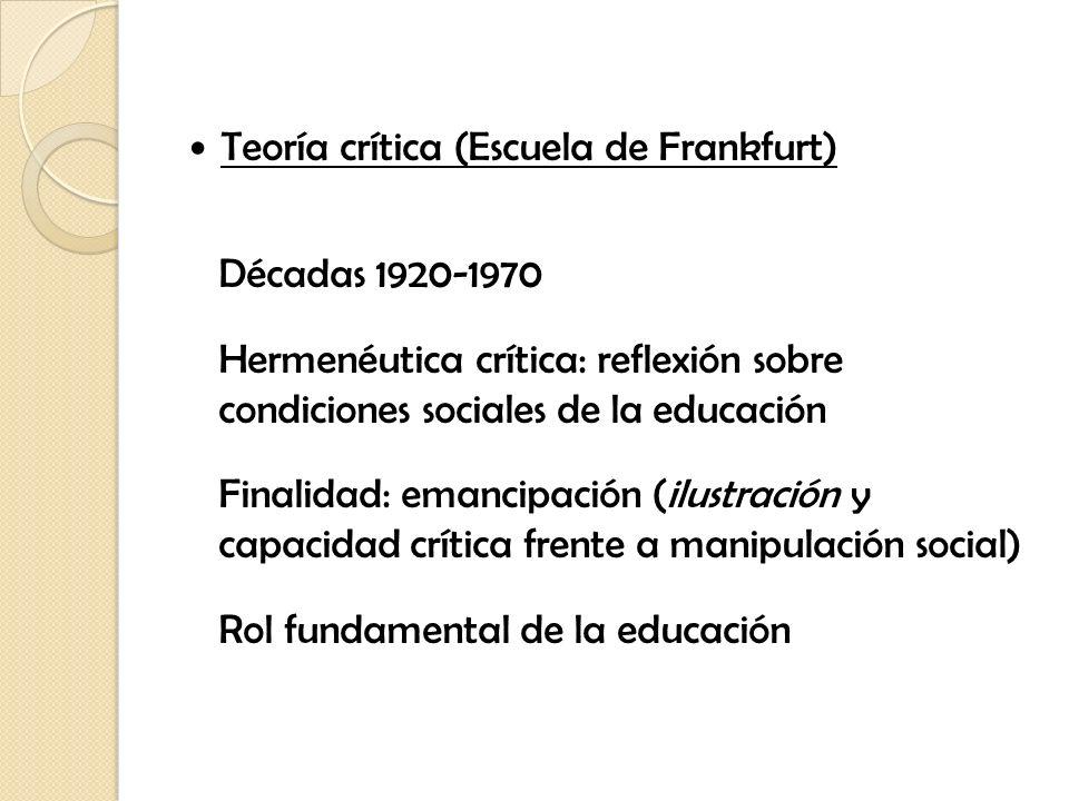 Teoría crítica (Escuela de Frankfurt) Décadas 1920-1970 Hermenéutica crítica: reflexión sobre condiciones sociales de la educación Finalidad: emancipa