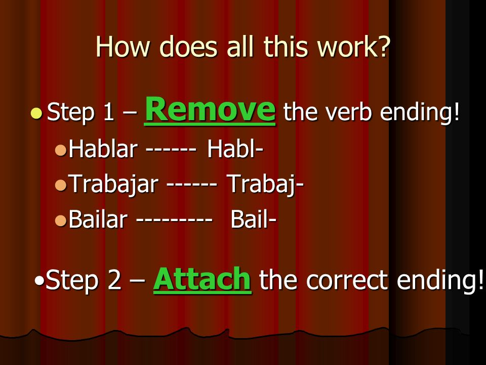 How does all this work? Step 1 – Remove the verb ending! Step 1 – Remove the verb ending! Hablar ------ Habl- Hablar ------ Habl- Trabajar ------ Trab