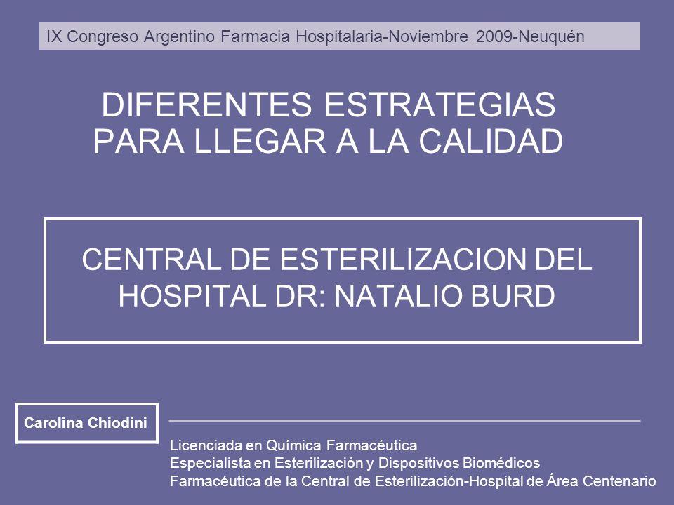 CENTRAL DE ESTERILIZACION DEL HOSPITAL DR: NATALIO BURD DIFERENTES ESTRATEGIAS PARA LLEGAR A LA CALIDAD Licenciada en Química Farmacéutica Especialist