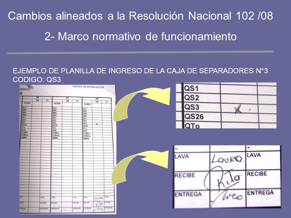 EJEMPLO DE PLANILLA DE INGRESO DE LA CAJA DE SEPARADORES N°3 CODIGO: QS3 Cambios alineados a la Resolución Nacional 102 /08 2- Marco normativo de func