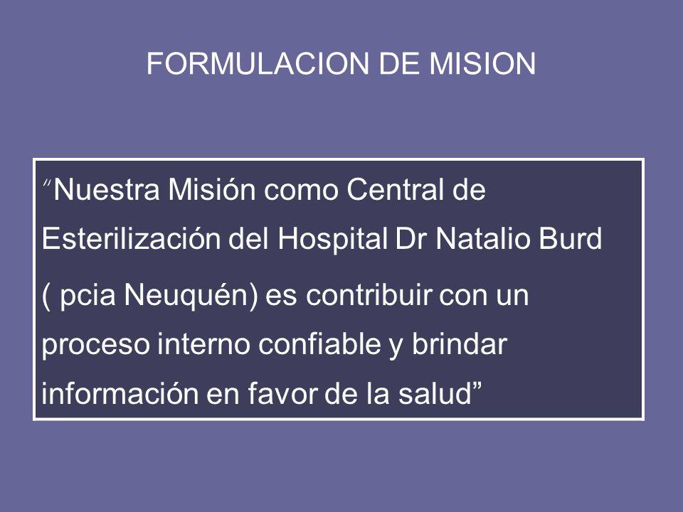 FORMULACION DE MISION Nuestra Misión como Central de Esterilización del Hospital Dr Natalio Burd ( pcia Neuquén) es contribuir con un proceso interno