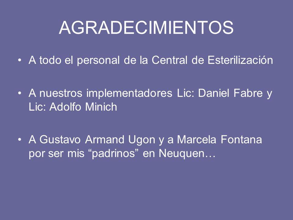 AGRADECIMIENTOS A todo el personal de la Central de Esterilización A nuestros implementadores Lic: Daniel Fabre y Lic: Adolfo Minich A Gustavo Armand