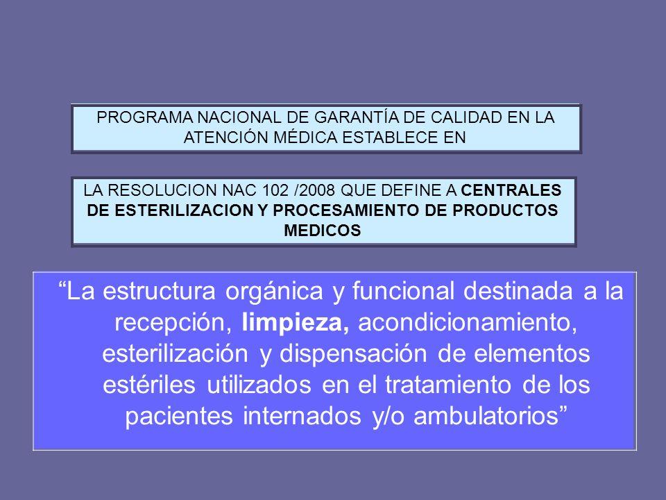 LEGISLACION NACIONAL La estructura orgánica y funcional destinada a la recepción, limpieza, acondicionamiento, esterilización y dispensación de elemen