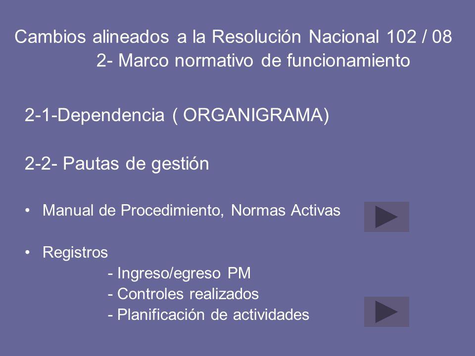 Cambios alineados a la Resolución Nacional 102 / 08 2- Marco normativo de funcionamiento 2-1-Dependencia ( ORGANIGRAMA) 2-2- Pautas de gestión Manual
