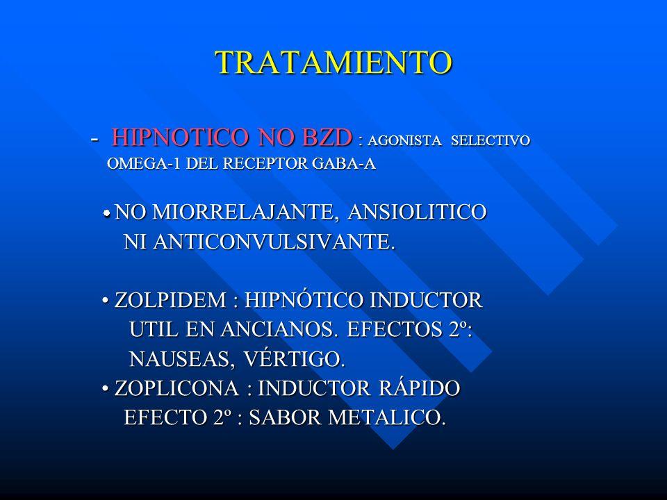 TRATAMIENTO -HIPNOTICO NO BZD : AGONISTA SELECTIVO OMEGA-1 DEL RECEPTOR GABA-A OMEGA-1 DEL RECEPTOR GABA-A NO MIORRELAJANTE, ANSIOLITICO NO MIORRELAJA