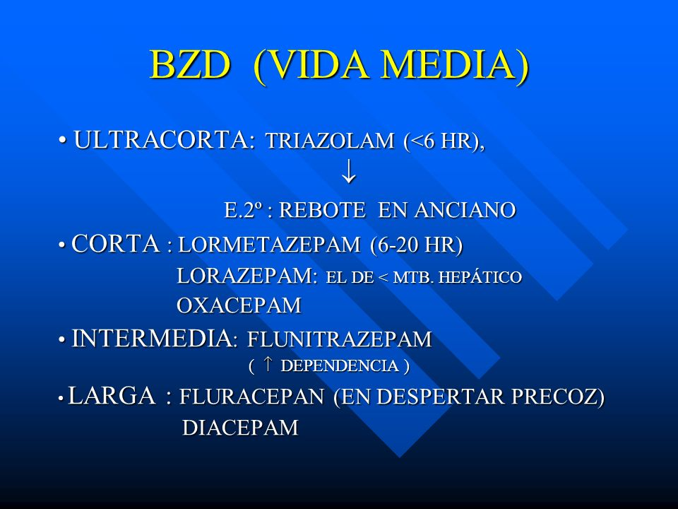 BZD (VIDA MEDIA) ULTRACORTA: TRIAZOLAM (<6 HR), ULTRACORTA: TRIAZOLAM (<6 HR), E.2º : REBOTE EN ANCIANO E.2º : REBOTE EN ANCIANO CORTA : LORMETAZEPAM
