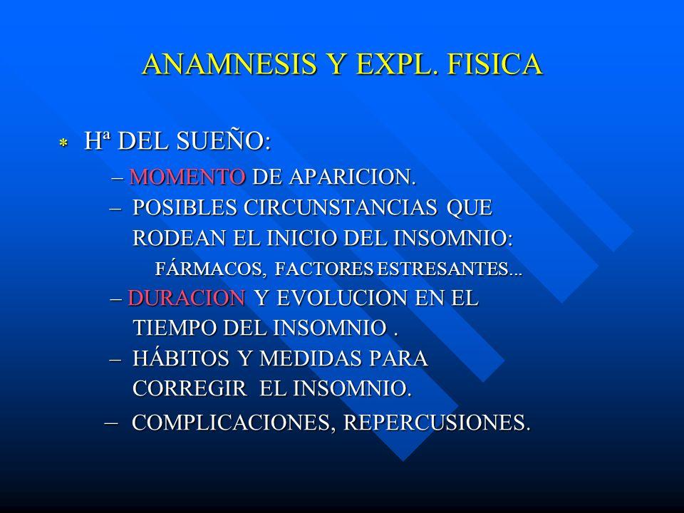 ANAMNESIS Y EXPL. FISICA Hª DEL SUEÑO: Hª DEL SUEÑO: – MOMENTO DE APARICION. – MOMENTO DE APARICION. – POSIBLES CIRCUNSTANCIAS QUE – POSIBLES CIRCUNST