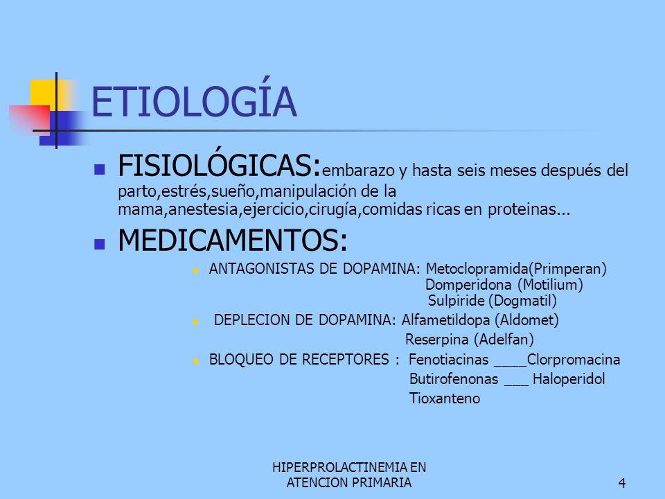 HIPERPROLACTINEMIA EN ATENCION PRIMARIA5 ESTROGENOS, ACO.