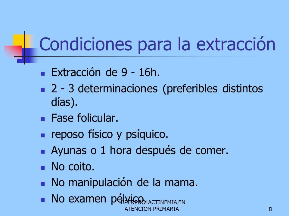 HIPERPROLACTINEMIA EN ATENCION PRIMARIA8 Condiciones para la extracción Extracción de 9 - 16h. 2 - 3 determinaciones (preferibles distintos días). Fas