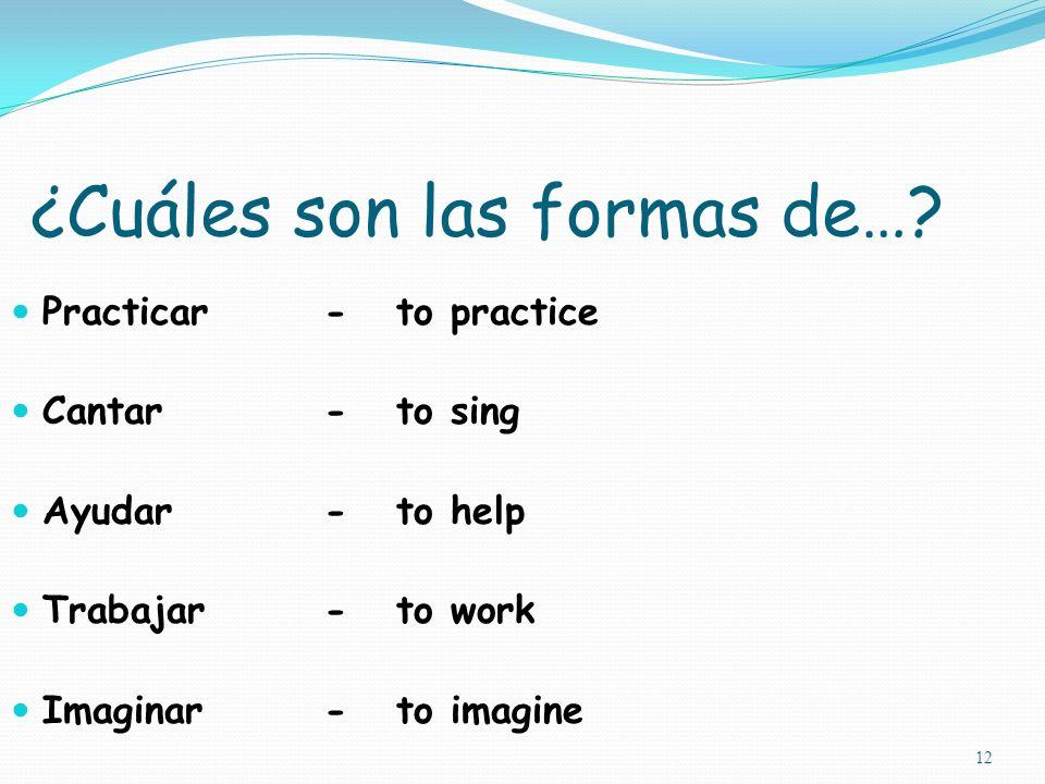 11 Otros verbos en –AR…: caminar - to walk llamar - to call mirar - to look at visitar - to visit saludar - to greet escuchar - to listen to contestar