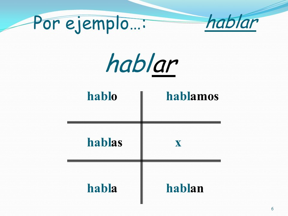 5 To form the present tense: STEM + Verb ending -o -as -a -amos x -an