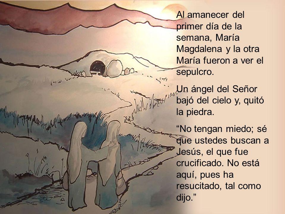 Al amanecer del primer día de la semana, María Magdalena y la otra María fueron a ver el sepulcro. Un ángel del Señor bajó del cielo y, quitó la piedr