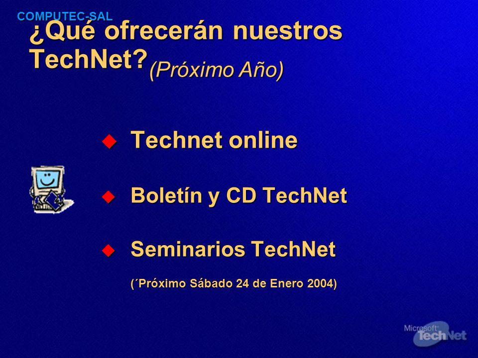 COMPUTEC-SAL Seminarios TechNet Sesiones Técnicas Sesiones Técnicas Realizadas desde el origen de nuestra institución y orientadas a ofrecer una visión práctica sobre las diversas Tecnologías.