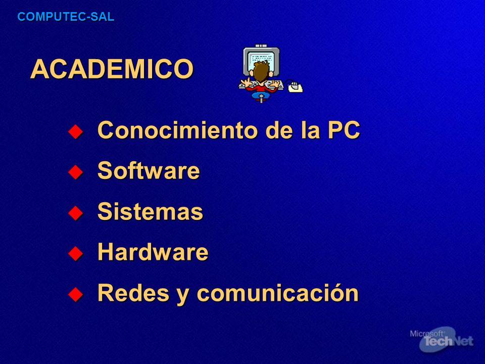 COMPUTEC-SAL ACADEMICO Conocimiento de la PC Conocimiento de la PC Software Software Sistemas Sistemas Hardware Hardware Redes y comunicación Redes y comunicación