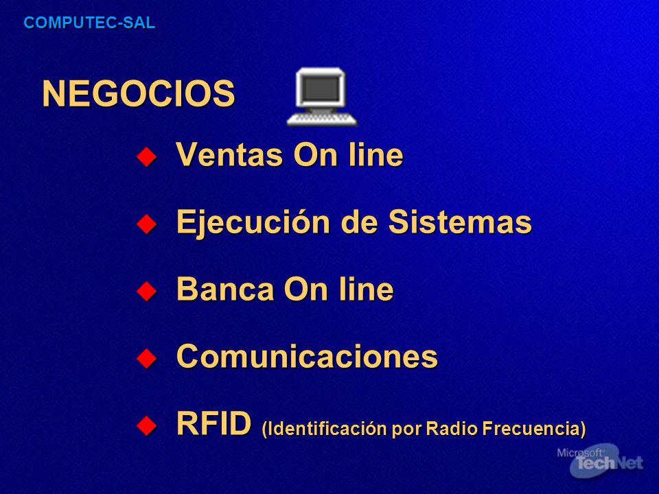 COMPUTEC-SAL NEGOCIOS Ventas On line Ventas On line Ejecución de Sistemas Ejecución de Sistemas Banca On line Banca On line Comunicaciones Comunicaciones RFID (Identificación por Radio Frecuencia) RFID (Identificación por Radio Frecuencia)