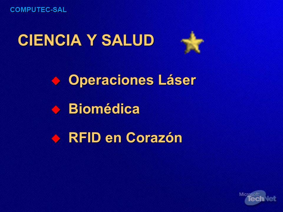 COMPUTEC-SAL CIENCIA Y SALUD Operaciones Láser Operaciones Láser Biomédica Biomédica RFID en Corazón RFID en Corazón