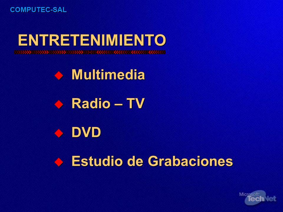 COMPUTEC-SAL ENTRETENIMIENTO Multimedia Multimedia Radio – TV Radio – TV DVD DVD Estudio de Grabaciones Estudio de Grabaciones