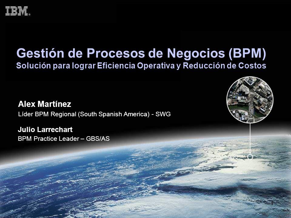 1 Gestión de Procesos de Negocios (BPM) Solución para lograr Eficiencia Operativa y Reducción de Costos Alex Martínez Líder BPM Regional (South Spanis