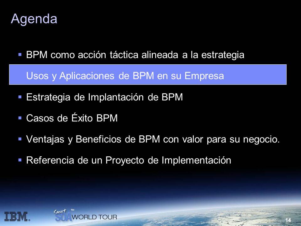 14 Agenda BPM como acción táctica alineada a la estrategia Usos y Aplicaciones de BPM en su Empresa Estrategia de Implantación de BPM Casos de Éxito B