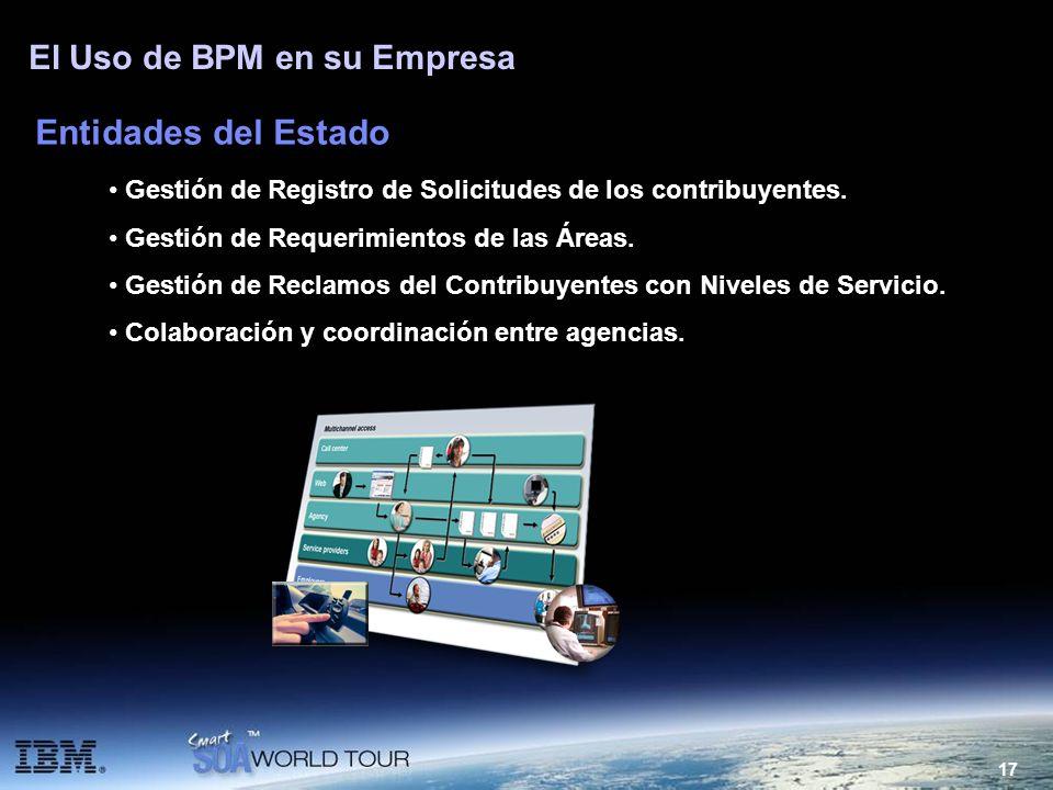 17 El Uso de BPM en su Empresa Entidades del Estado Gestión de Registro de Solicitudes de los contribuyentes. Gestión de Requerimientos de las Áreas.