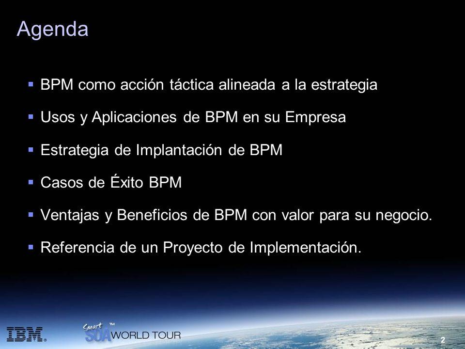 2 Agenda BPM como acción táctica alineada a la estrategia Usos y Aplicaciones de BPM en su Empresa Estrategia de Implantación de BPM Casos de Éxito BP