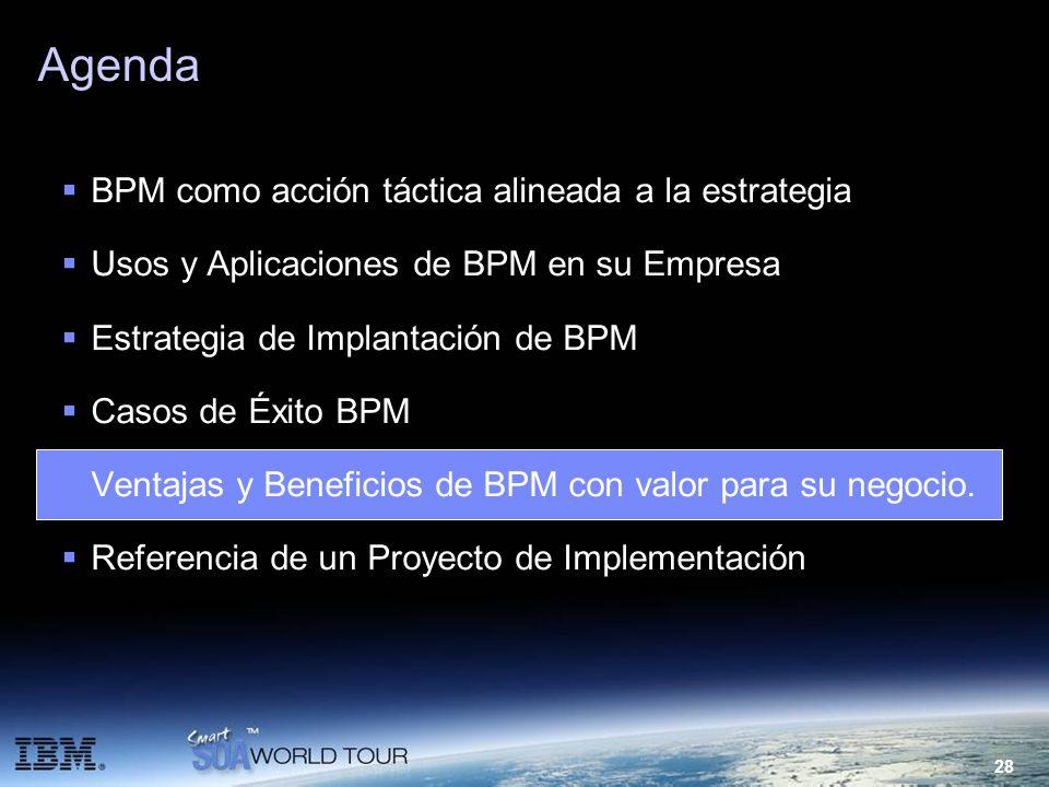 28 Agenda BPM como acción táctica alineada a la estrategia Usos y Aplicaciones de BPM en su Empresa Estrategia de Implantación de BPM Casos de Éxito B