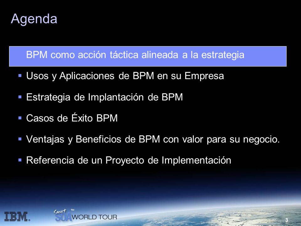 3 Agenda BPM como acción táctica alineada a la estrategia Usos y Aplicaciones de BPM en su Empresa Estrategia de Implantación de BPM Casos de Éxito BP