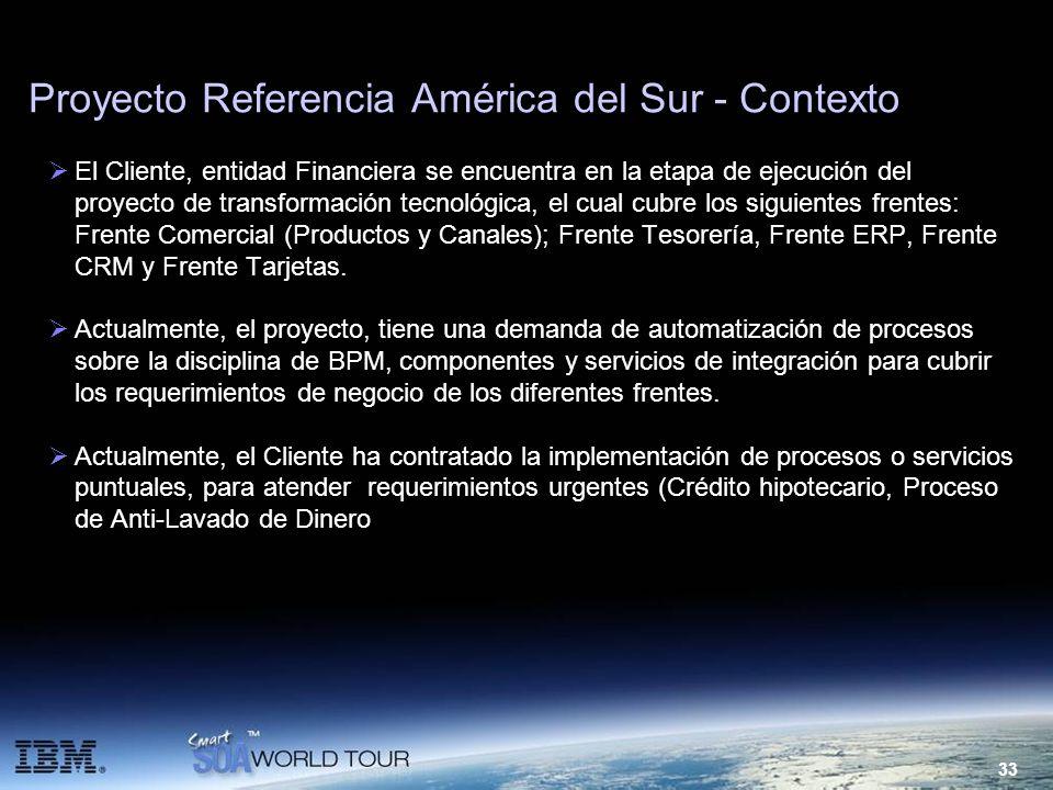 33 Proyecto Referencia América del Sur - Contexto El Cliente, entidad Financiera se encuentra en la etapa de ejecución del proyecto de transformación