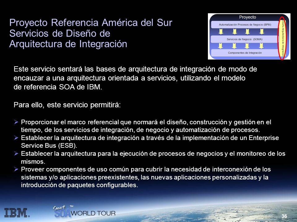36 Proyecto Referencia América del Sur Servicios de Diseño de Arquitectura de Integración Este servicio sentará las bases de arquitectura de integraci