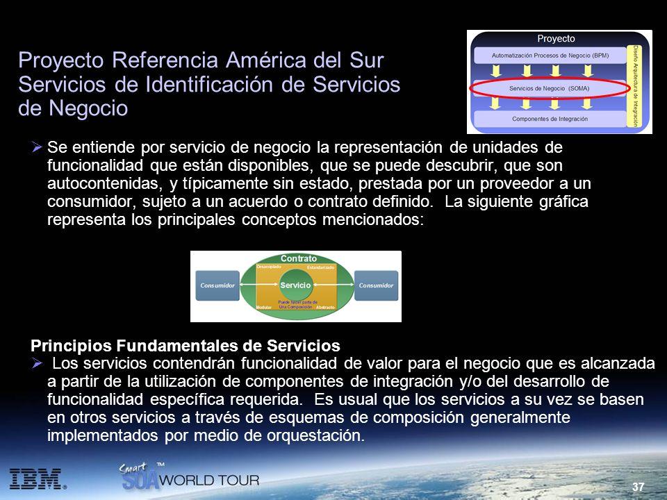 37 Proyecto Referencia América del Sur Servicios de Identificación de Servicios de Negocio Se entiende por servicio de negocio la representación de un