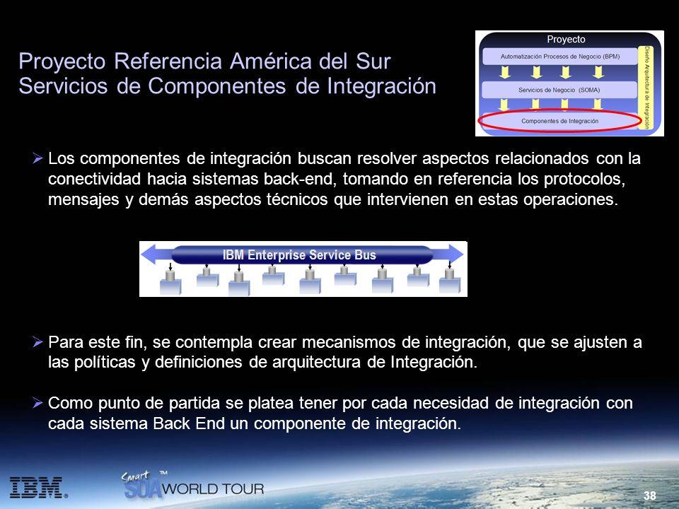 38 Proyecto Referencia América del Sur Servicios de Componentes de Integración Los componentes de integración buscan resolver aspectos relacionados co