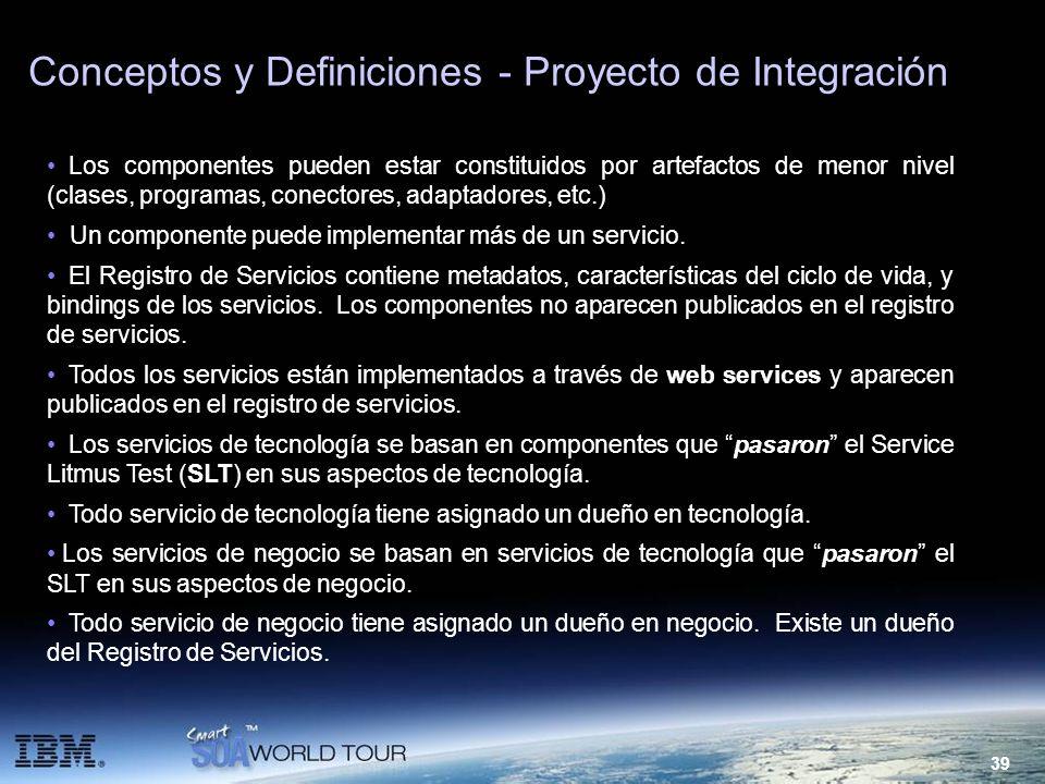 39 Conceptos y Definiciones - Proyecto de Integración Los componentes pueden estar constituidos por artefactos de menor nivel (clases, programas, cone