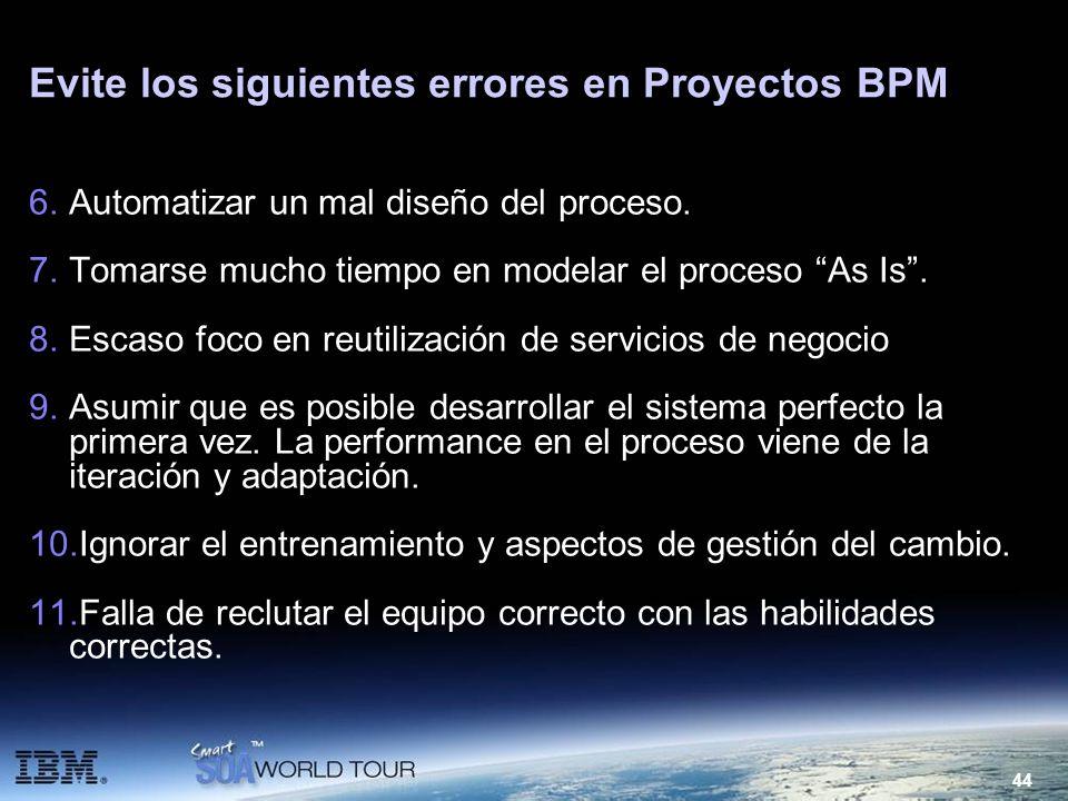 44 Evite los siguientes errores en Proyectos BPM 6.Automatizar un mal diseño del proceso. 7.Tomarse mucho tiempo en modelar el proceso As Is. 8.Escaso