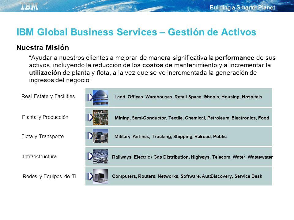 Building a Smarter Planet IBM Global Business Services – Gestión de Activos Nuestra Misión Ayudar a nuestros clientes a mejorar de manera significativ
