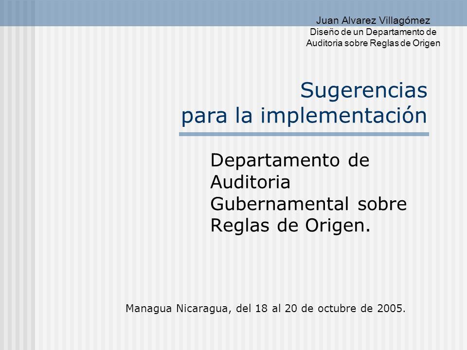 Juan Alvarez Villagómez Diseño de un Departamento de Auditoria sobre Reglas de Origen Contenido del Informe.