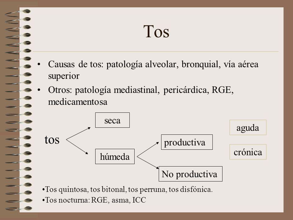 Tos Causas de tos: patología alveolar, bronquial, vía aérea superior Otros: patología mediastinal, pericárdica, RGE, medicamentosa tos seca húmeda pro