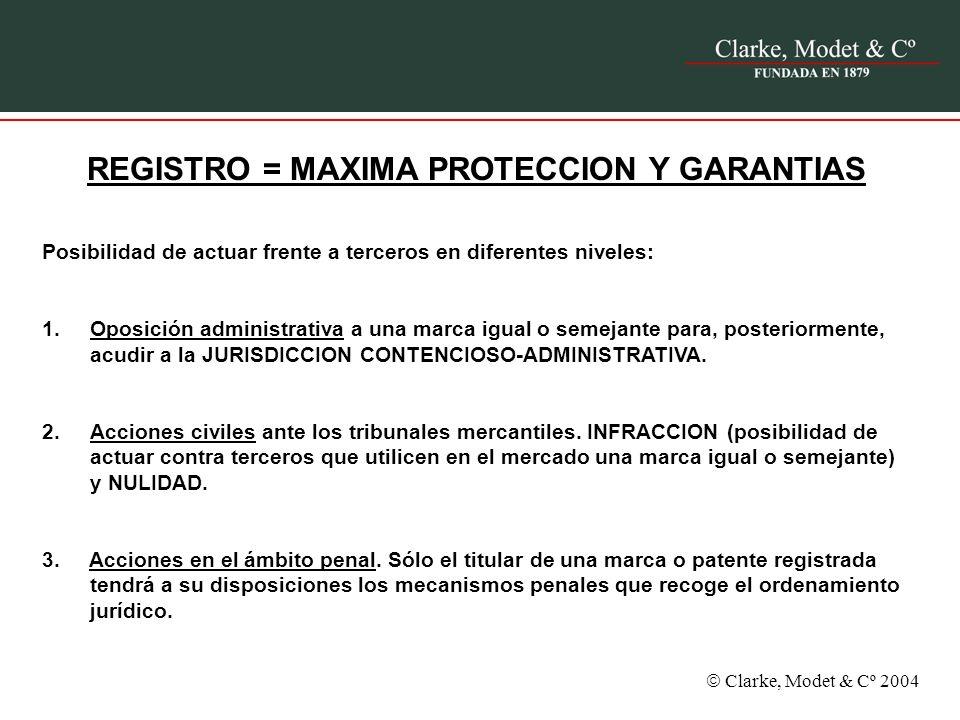 Clarke, Modet & Cº 2004 REGISTRO = MAXIMA PROTECCION Y GARANTIAS Posibilidad de actuar frente a terceros en diferentes niveles: 1.Oposición administra